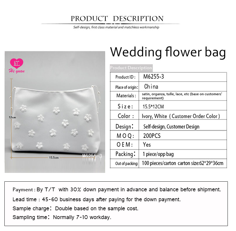 M6255-3 Wedding Flower Bag Elegant Satin and Lace with Bead Belt