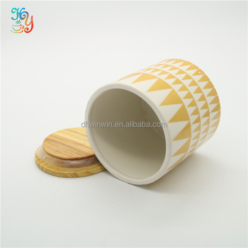 Wide mouth design small ceramic jar with wooden lid canning jar lid