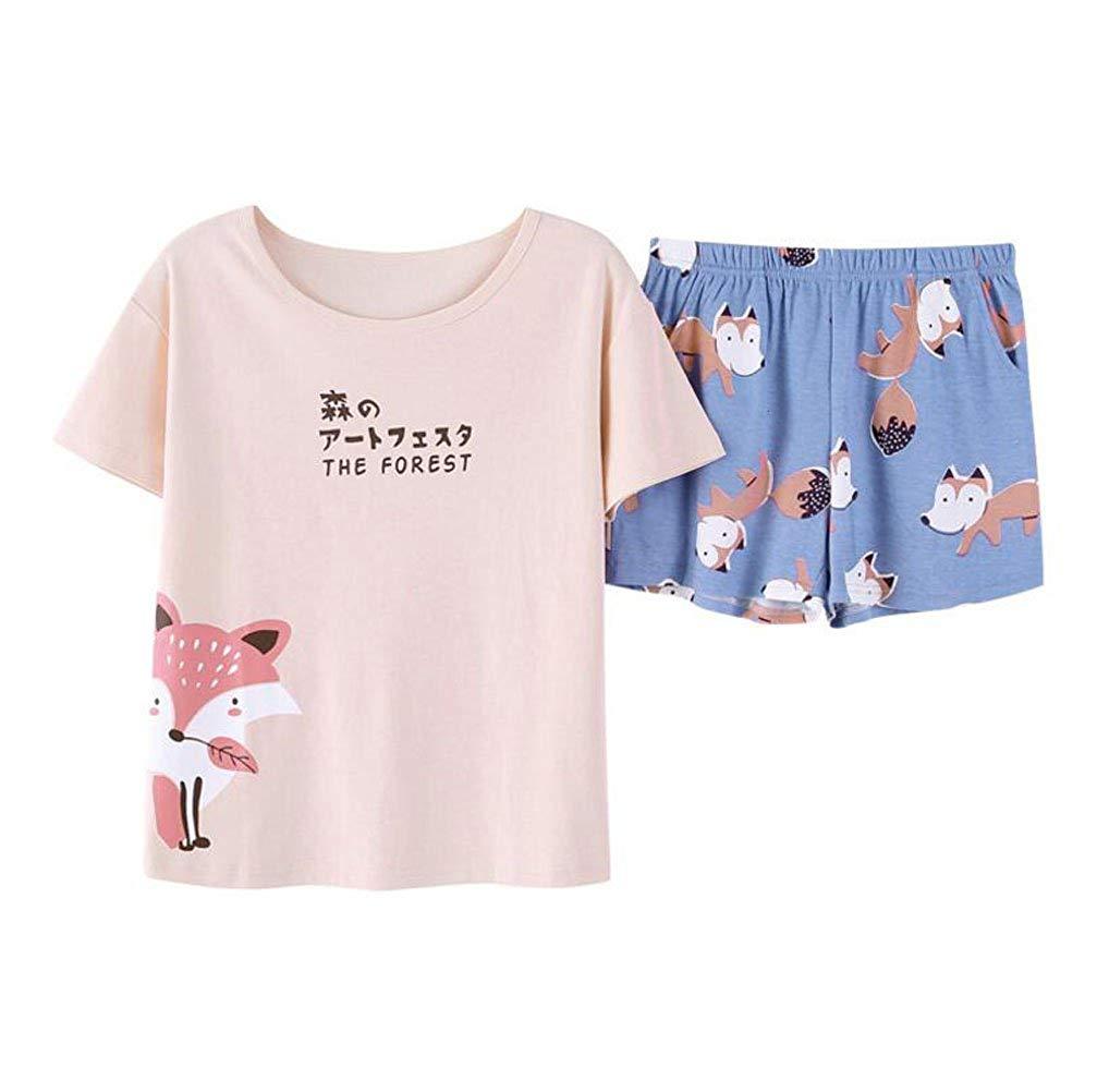 f848cccdc3 Get Quotations · ZWT Big Girls Teen Girls Cartoon Fox Shorts Pajamas Set  Summer Casual Sleepwear
