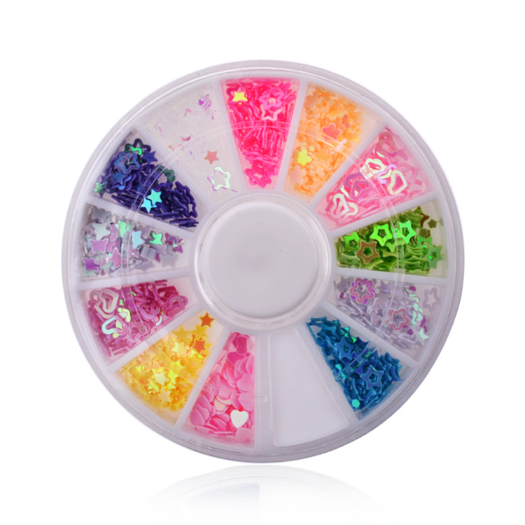 Hearts Stars 12 colors DIY ongles decoracion de unas nail glitter decorazioni unghie 3d nail art