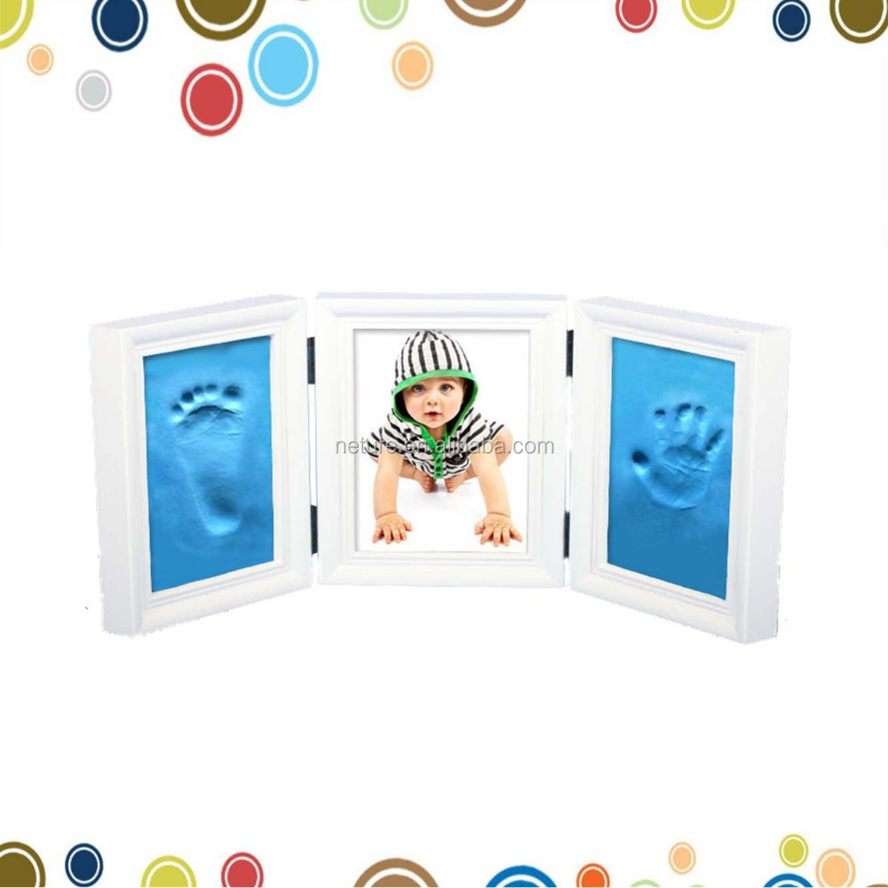 Wooden Air Dry CLAY PHOTO FRAME KIT with Acrylic covers for Baby Child Creates Foot Hand Print