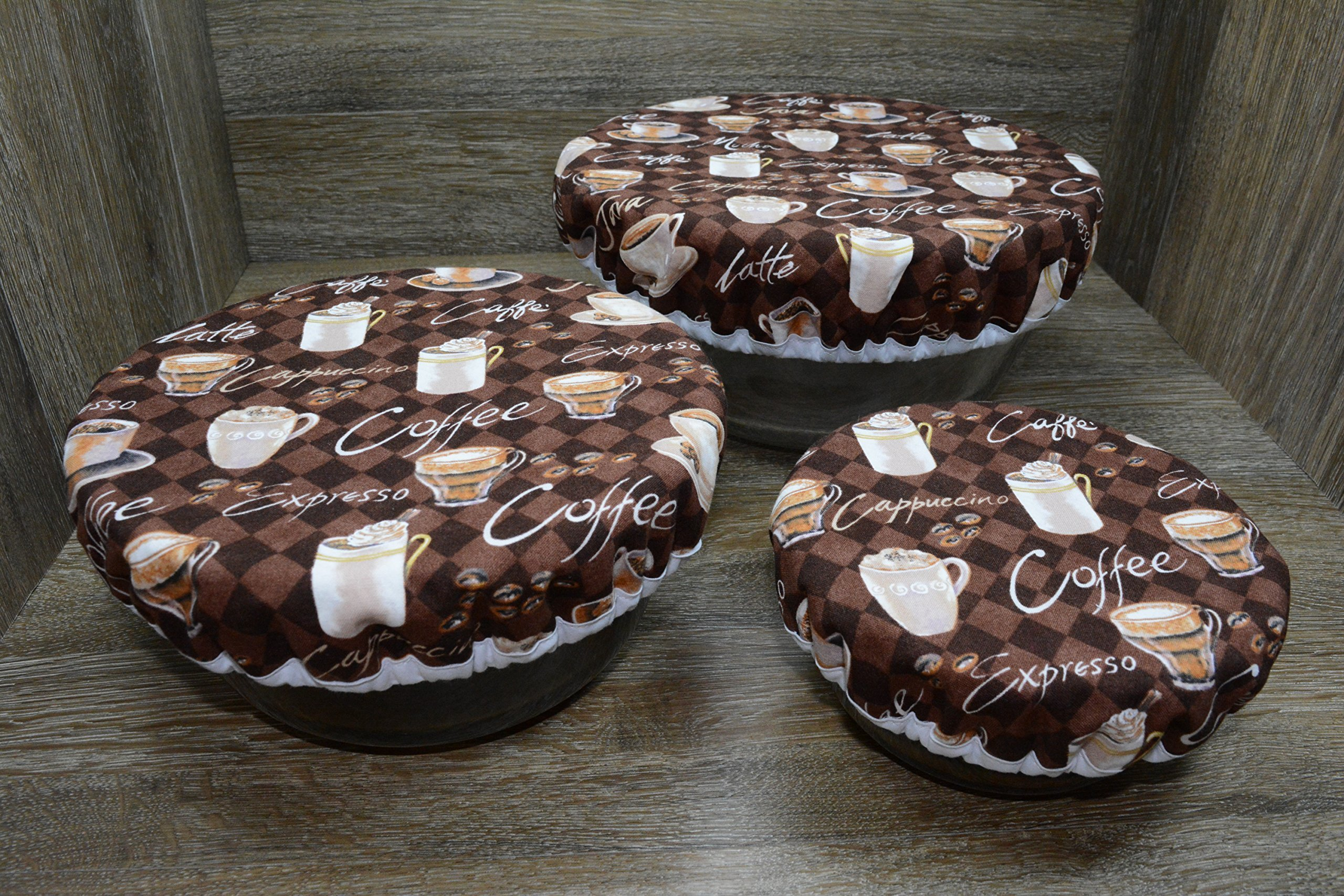Eco-Friendly//Reusable//Bowl Covers//Set of 3//Morning coffee