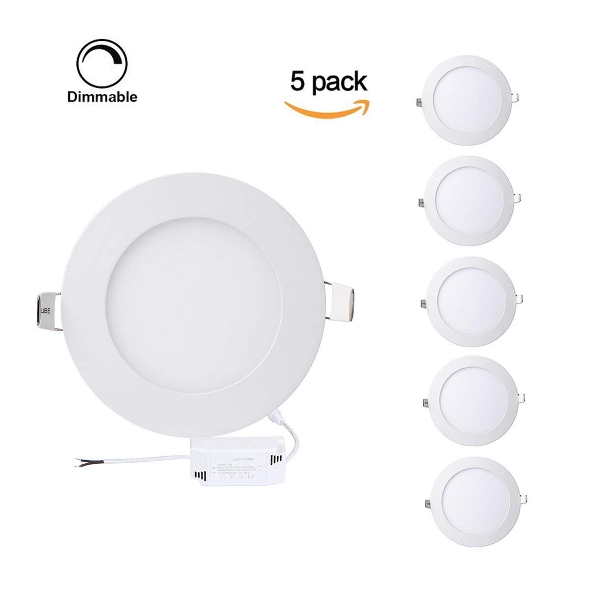 ProGreen Pack of 5 Units 12W Flat LED Panel Light, Dimmable Round Ultrathin LED Recessed Downlight, 960lm, Warm White 3000K, Cut Hole 6.1 Inch, Panel Ceiling Lighting with 110V LED Driver