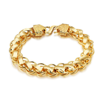 24K Fashion New Gold Plated Charm Bracelet Men Copper Chain Jewelry