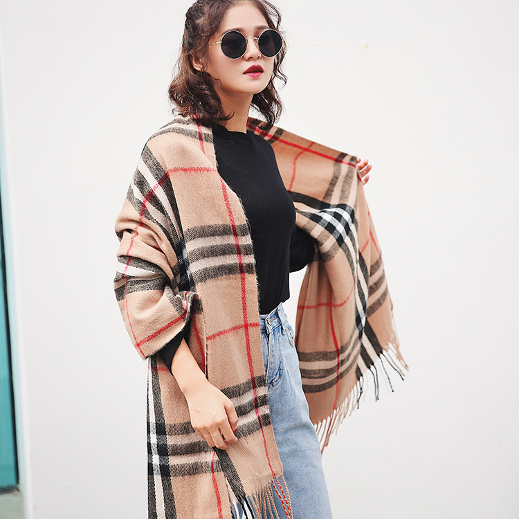 Winter thick warm cashmere long plaid scarf wholesale