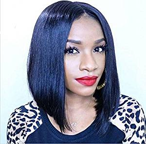 Vanessa Queen Short Cut Bob Wigs Black Hair Silky Straight Synthetic Lace Front Wig With Baby Hair 12Inch
