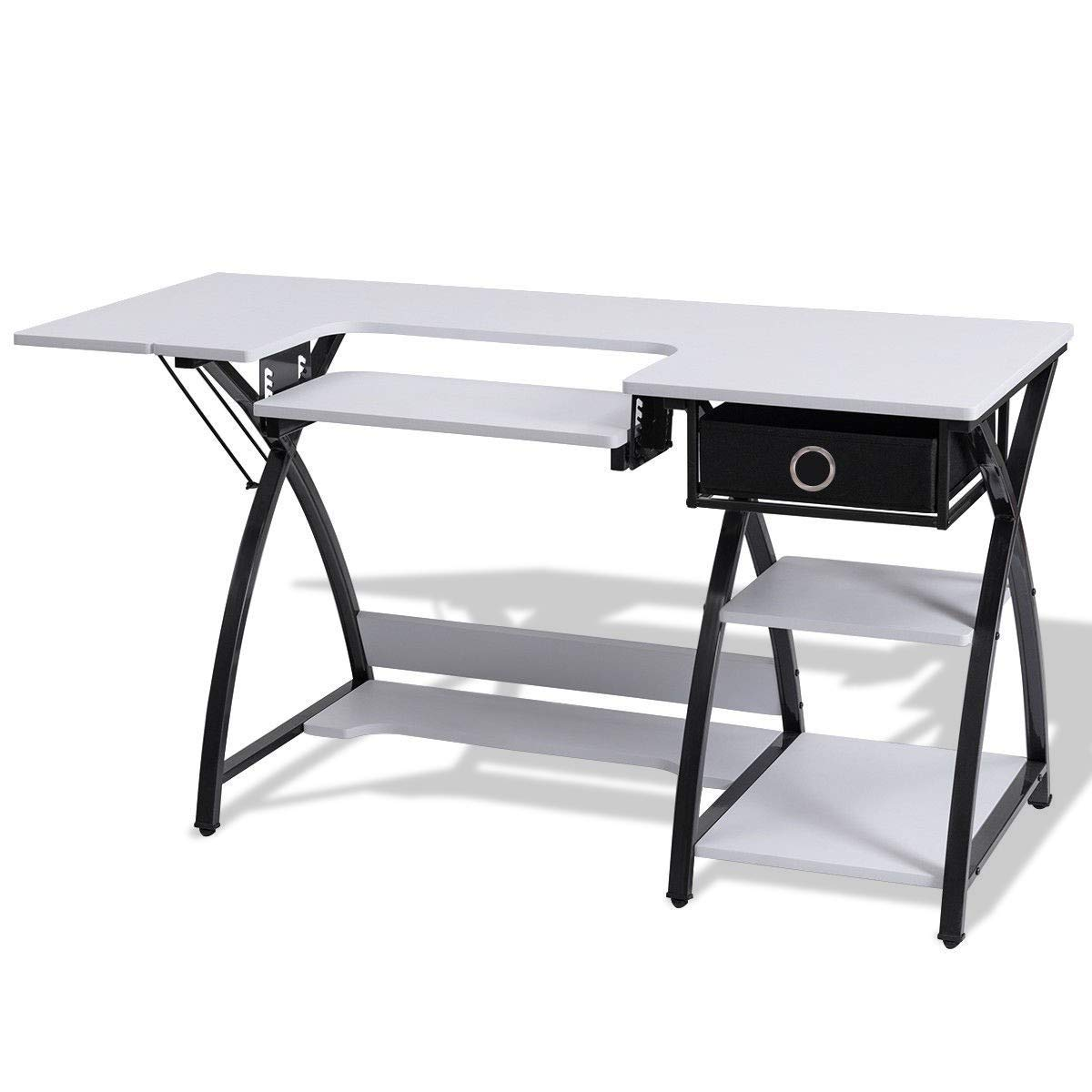 Sewing Craft Table Folding Computer Desk Adjustable Platform Side Shelf Storage Drawer Machine Cabinet BeUniquetoday