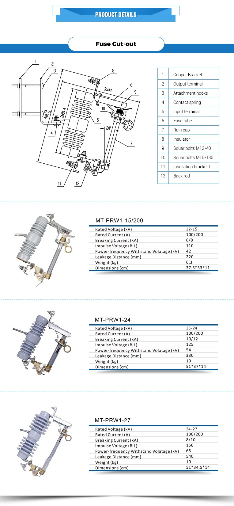 Wenzhou High Voltage Ab Chance Model Function Of Electrical Fuse Cutout