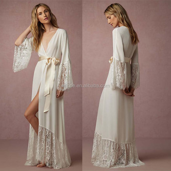 Women s Kimono Wedding Robe Kimono Plain White Lace Crochet Design long  Fshion Elegant Bridesmaid Robe f6d4981ee