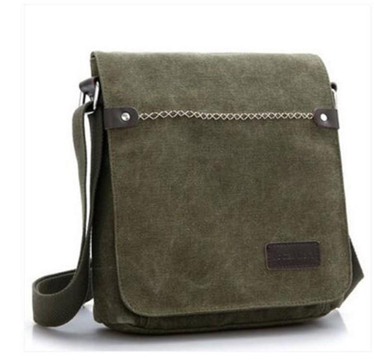 025b265221 Men s Vintage Canvas Leather Satchel School Military Shoulder Bag Messenger  Bag