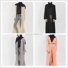 Wholesale china import jilbab with belt fashion turkish coat style abaya