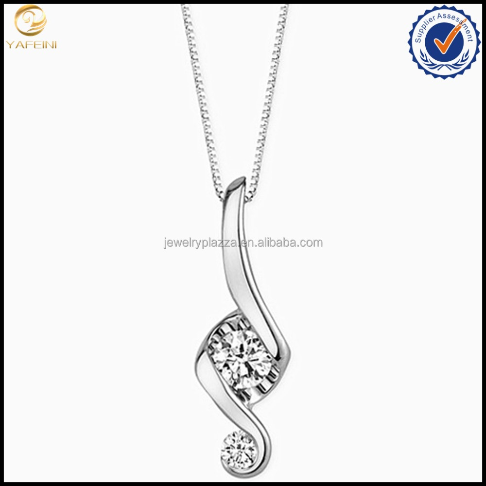 Newest Jewels White gold Cubic Zirconia Pendant Necklace 925 sterling silver Music Note Necklace