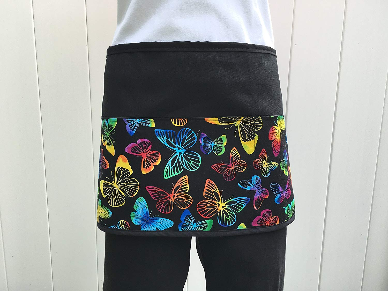 Waitress or Server, cute Butterfliers Design apron 3 pocket black half Check out 300 More prints @ (Handmade Janet Aprons) waist aprons restaurants cooking, kitchen, craft, gardening aprons