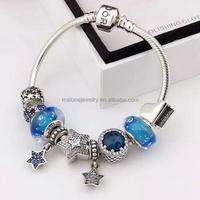 DIY Vintage European Style 925 Sterling Silver Bead Charm Bracelet S925 Silver CZ Charm Bracelet Wholesale