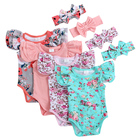 Cotton Baby infant romper wholesale pom flutter sleeve suit girls baby rompers