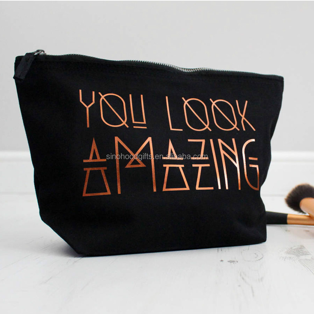 2019 China supplier wholesale customized fashion eco-friendly canvas cosmetic bag makeup bag