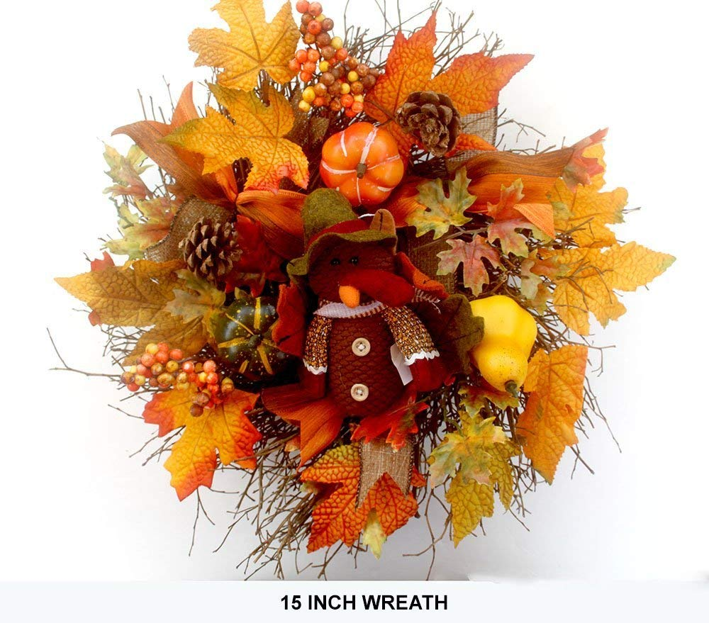 Fall wreaths for front door, autumn wreath, fall décor, fall wreathes, thanksgiving wreath pumpkin, autumn wreath- 15 inch