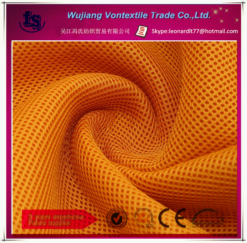 wujiang manufacture supply polyester eyelet fabric/ mesh sport dry fit fabric for sportswear,shirt,etc