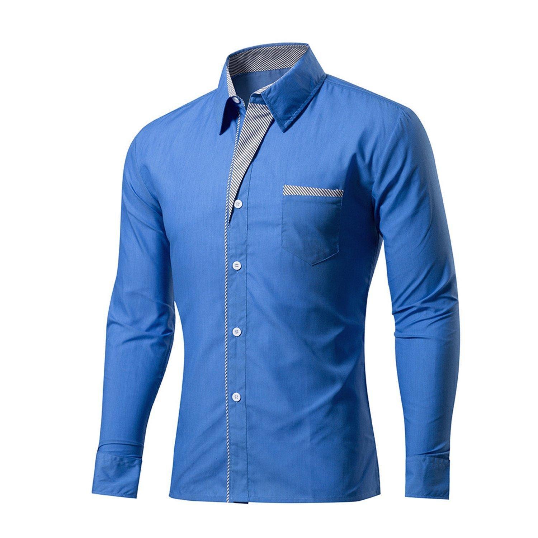 4ff5562d3c8 Get Quotations · B dressy Men Shirts Shirts Mens Striped Patchwork Shirt  Slim Fit Long Sleeve Men Shirt Slim