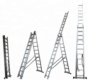 Triple Extension Aluminium Step Ladder 9.8 Feet To 7 Meters Comfort Rungs