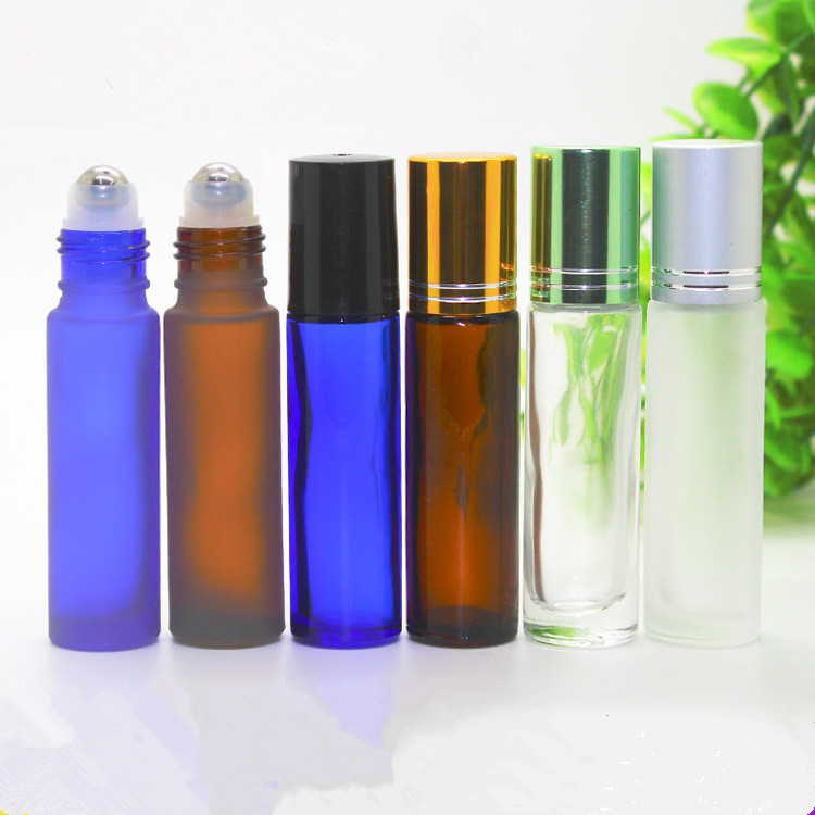 Ml roll on frosted glass bottles essential oil steel