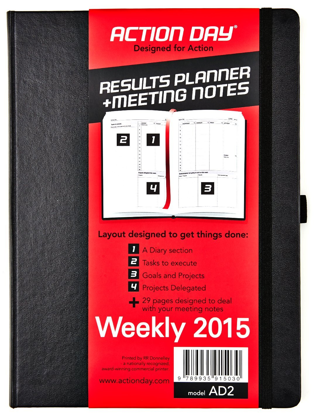 Action Day Weekly Planner 2015 - Size 8x11 - Layout Designed to Get Things Done - (Daily Calendar (+) Day Planner (+) Weekly Diary (+) Monthly Planner (+) Goals Journal (+) Datebook (+) Meeting Notes)