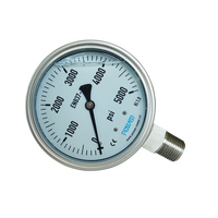 YBF100 100mm glycerine fill 5000 psi pressure gauge 4'' manometer