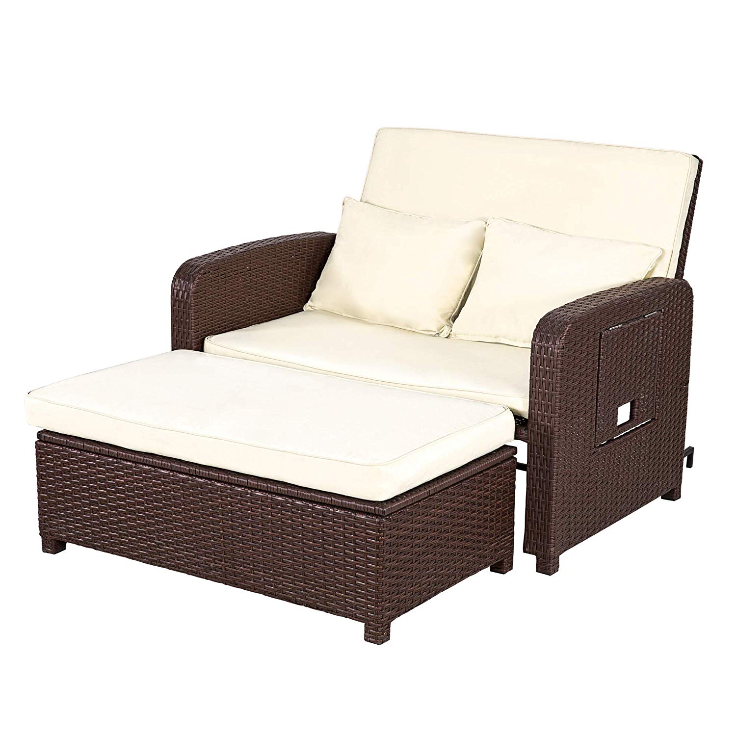 FurniTure Outdoor Wicker Love Seat Daybed 2 Piece Patio Rattan Sectional Sofa Set Bed Wicker Rattan Set, Cocoa Brown Wicker White Cushions