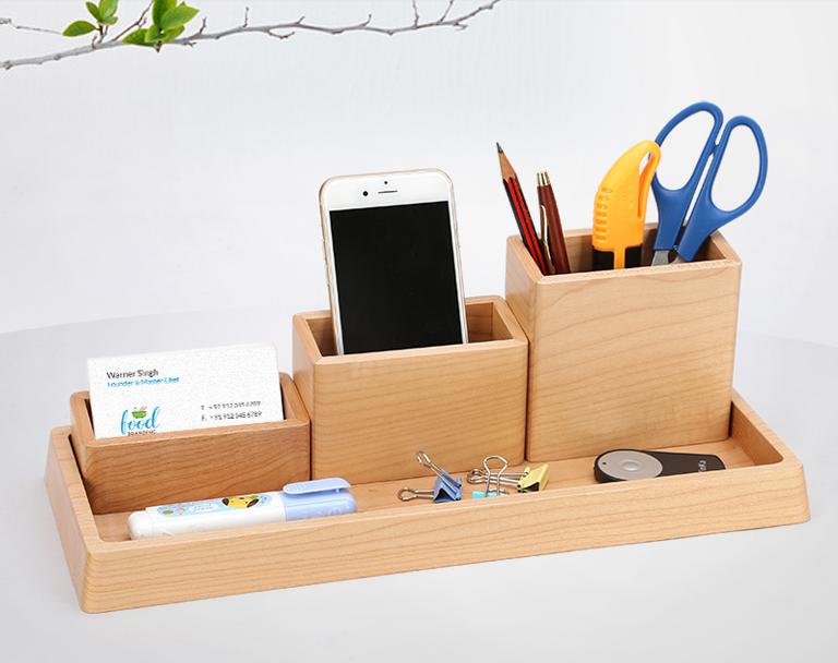 Naturel en bois organisateur de bureau de bureau stylo porte