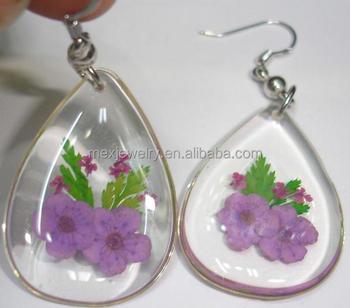 b38b50151 Natural Real Dried Plant Purple myosotis sylvatica Pressed Flower Resin  Earrings jewelry