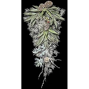 """32"""" Artificial Iced Mixed Leaf, Pine & Pinecone Teardrop Swag -White/Green (pack of 2)"""