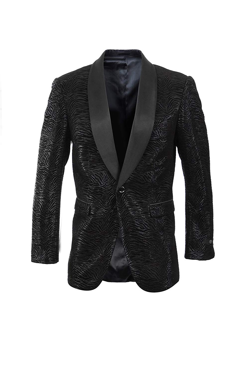 TAZIO Mens Jacket Modern Fit Satin Shawl Collar Patterned Blazer Dinner Jacket