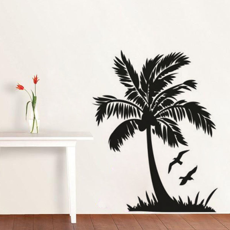 Flying Bird And Palm Tree Wall Sticker Seaside Scenery Bathroom Home Decor Diy Vinyl Removable Bedroom Decoration Art Mural