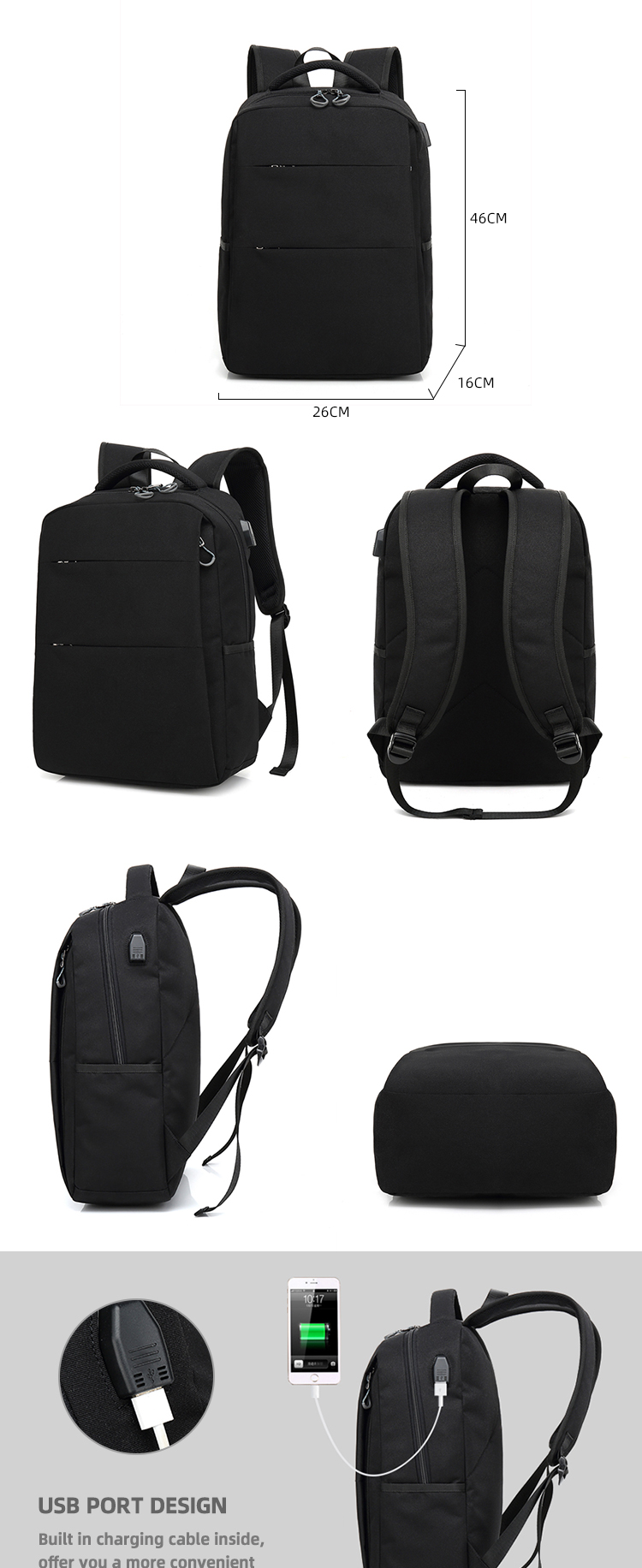 factory wholesale custom waterproof usb charger port 12 14 15 15.6 16 17 17.3 17.5 18 19 20 inch laptop backpack