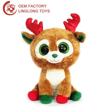custom xmas souvenir stuffed deer moose with green eyes brown plush