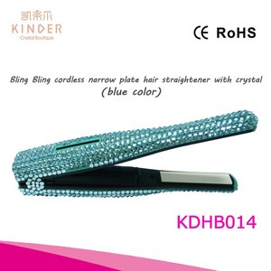 Amazing bling colorful crystal hair flat iron personalized portable cordless USB hair straightener