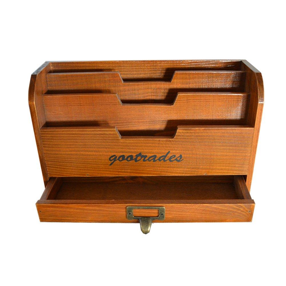 Retro Wooden Desktop,3 Compartments with a Drawer / File Organizer / Mail Sorter / Pencil Holder / Postcards Storage / Desk Organizer,11.4 x 6.7 x 4.3 inches,Brown