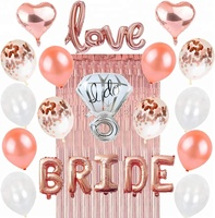 Easternhope Bridal Shower BRIDE Love Foil Ring Balloon Curtain, Rose Gold Bachelorette Party Decorations Wedding Supplies