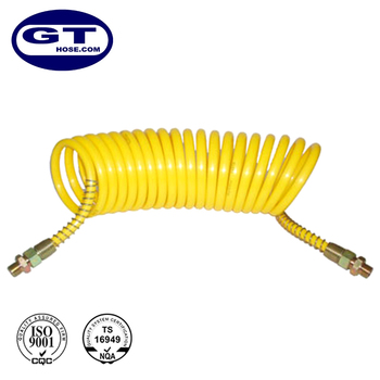 CC9 yellow Plastic Air Brake Nylon tube Coils Assembly, working length=3, coil diameter=90mm
