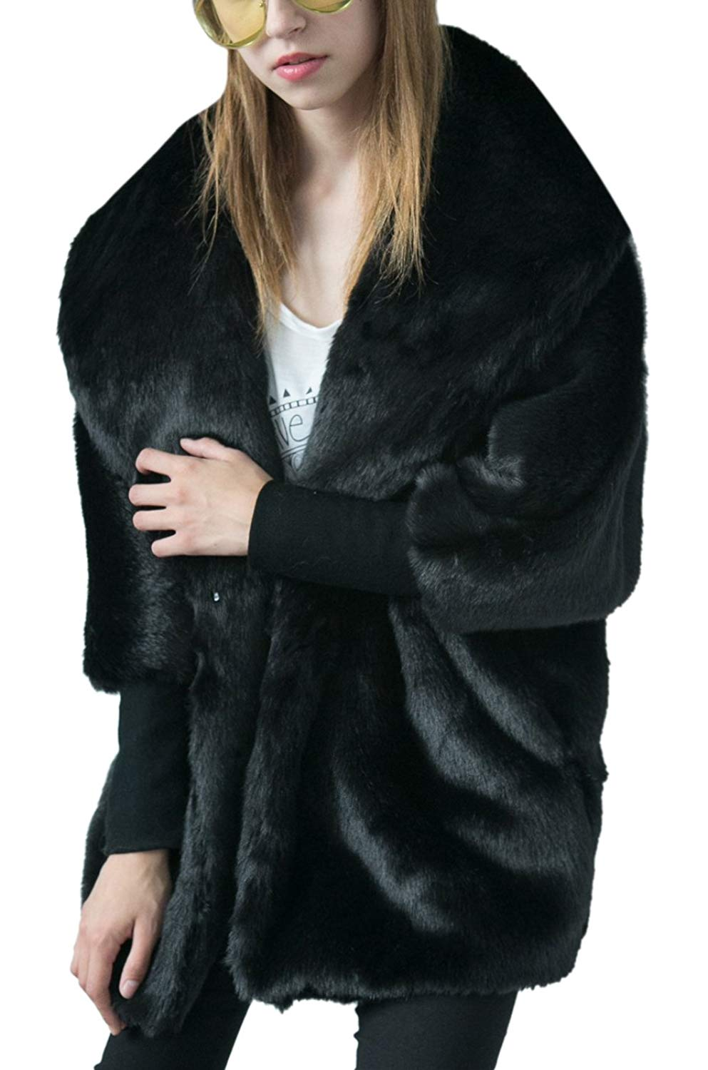 Womens Unique Fake Mink Shaggy Oversized Collar Dolman Sleeve V-neck Knitted Cuff Coat Plus Size Cardigan