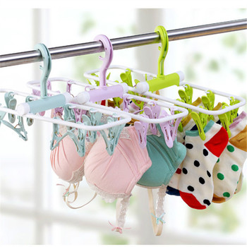 mutifunction foldable plastic hangers clips with 12 pegs hanger for socks baby clothes Bra dryer