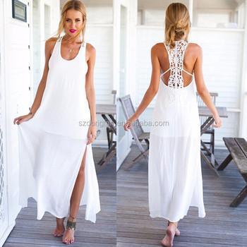 dbca46c009826 2016 г. женские платья Летнее белое пляжное платье Кружева Свадебные платья  Длинные платья для подростков