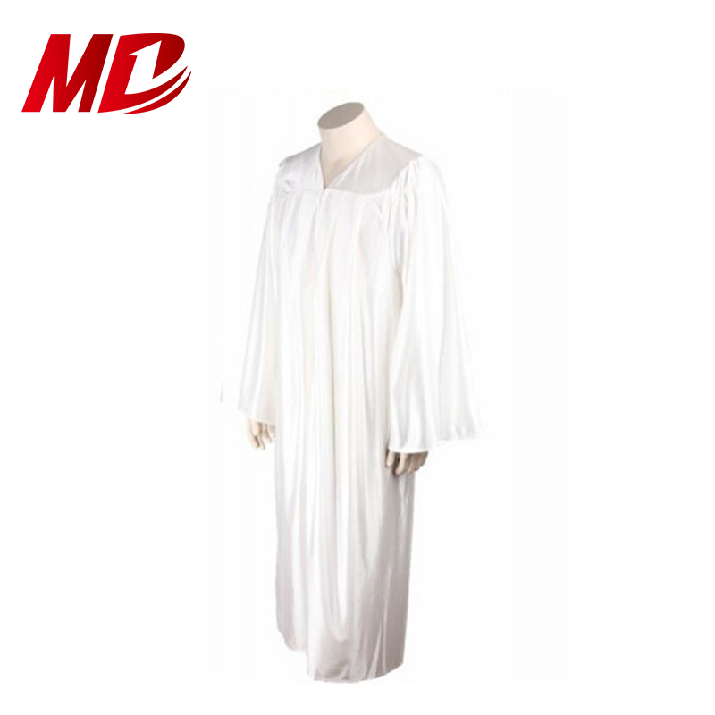 From Kindergarten To University Pure white plain style Graduation Gowns
