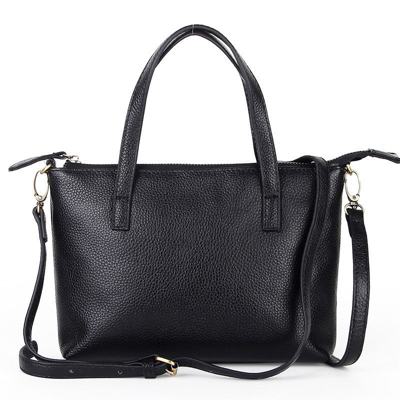 2015 Autumn Italy Style Lichee Ladies Small Black Handbags Womens Real Cowhide Leather Bag Vogue All-match Female Handbag Simple