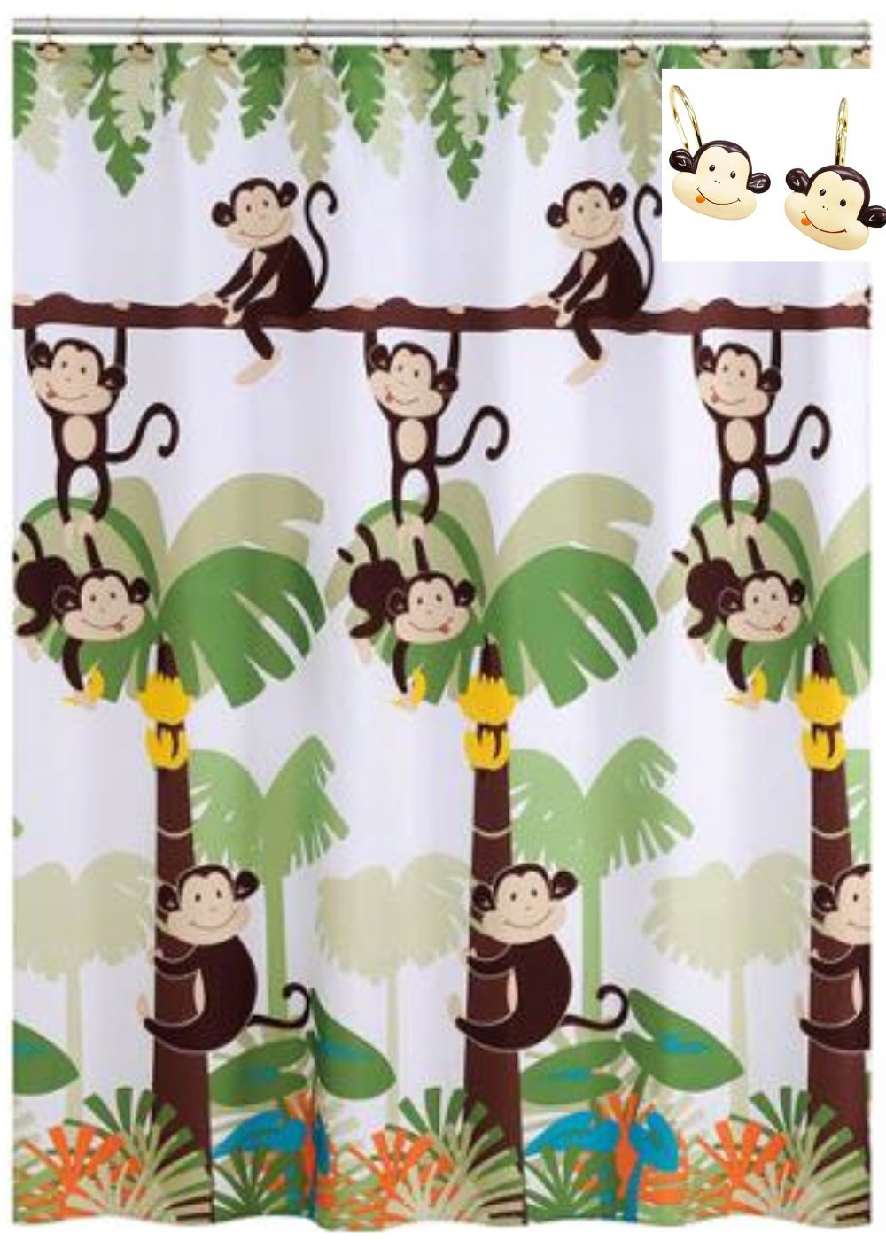 Get Quotations Monkey Bathroom Decor Shower Curtain With 12 Hooks