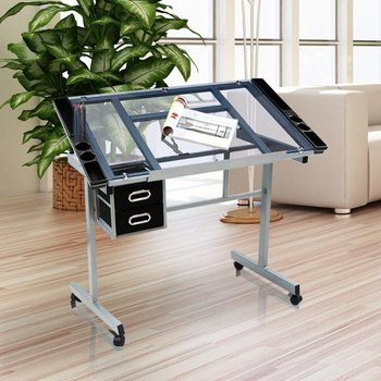 Adjustable Drawing Rolling Drafting Table Tempered Glass Top Art Craft Desks