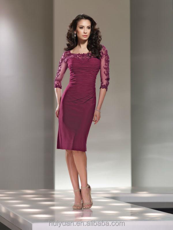 Purple Long Sleeve Lace Knee Length Women's Evening Dress