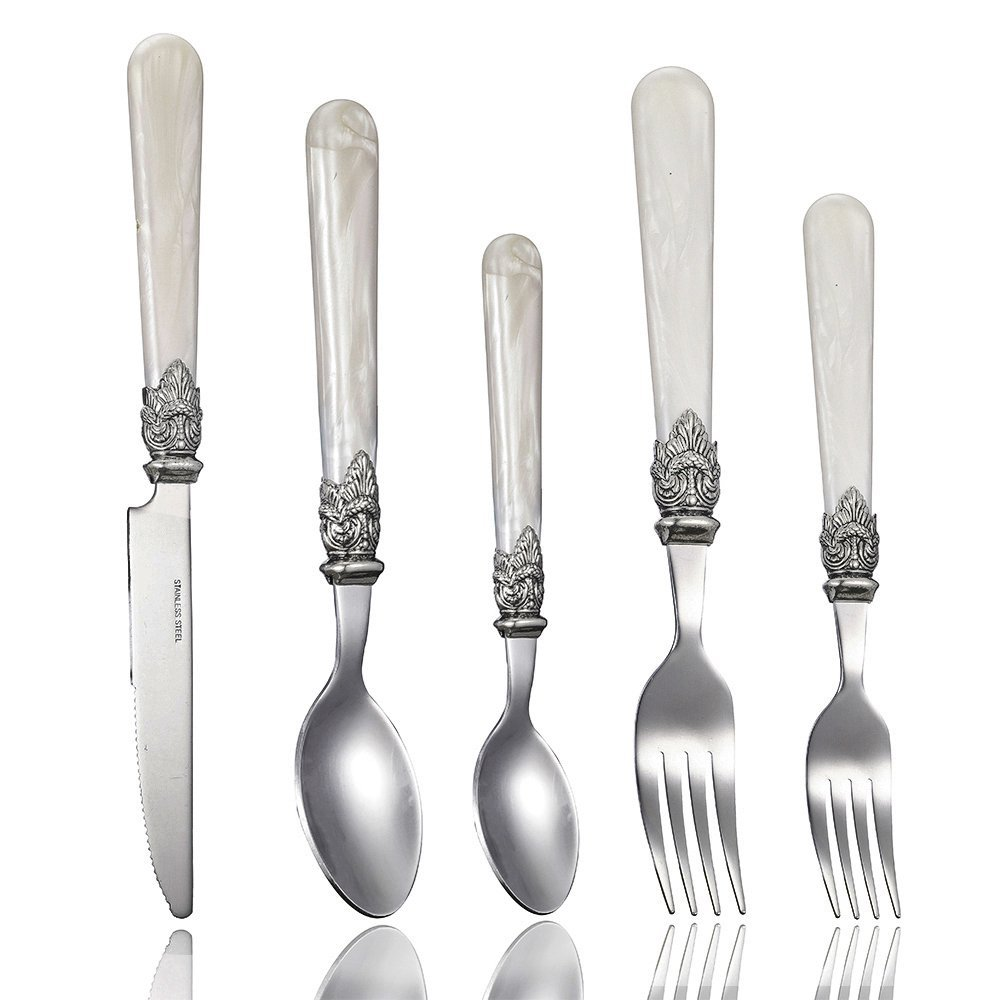 Stainless Steel Silverware Set - 40-Piece Royal Flatware Set with White Pearl Handle, Vintage Cutlery Set Including 8 Steak Knives, 16 Forks, 16 Spoons, FDA Certified, Mirror Polished, Service For 8