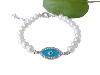 Blue Evil Eye Bracelet Handmade Pearl Beaded Rhinestone Turkish Jewelry