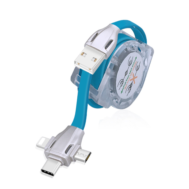 Retractable USB Cable 3 in 1 For Mobile Phone USB Fast Charging Cable